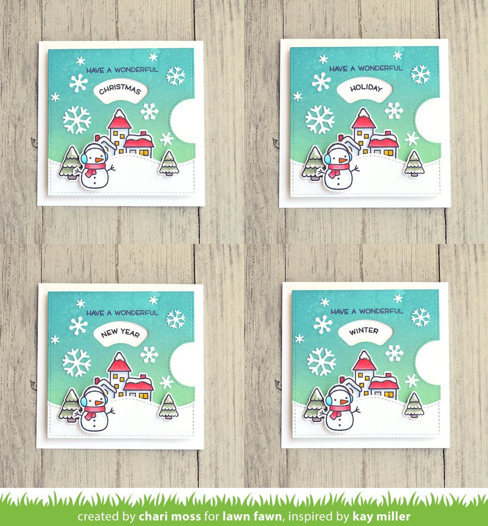 Reveal Wheel Holiday Sentiments - Lawn Fawn Clear Stamps