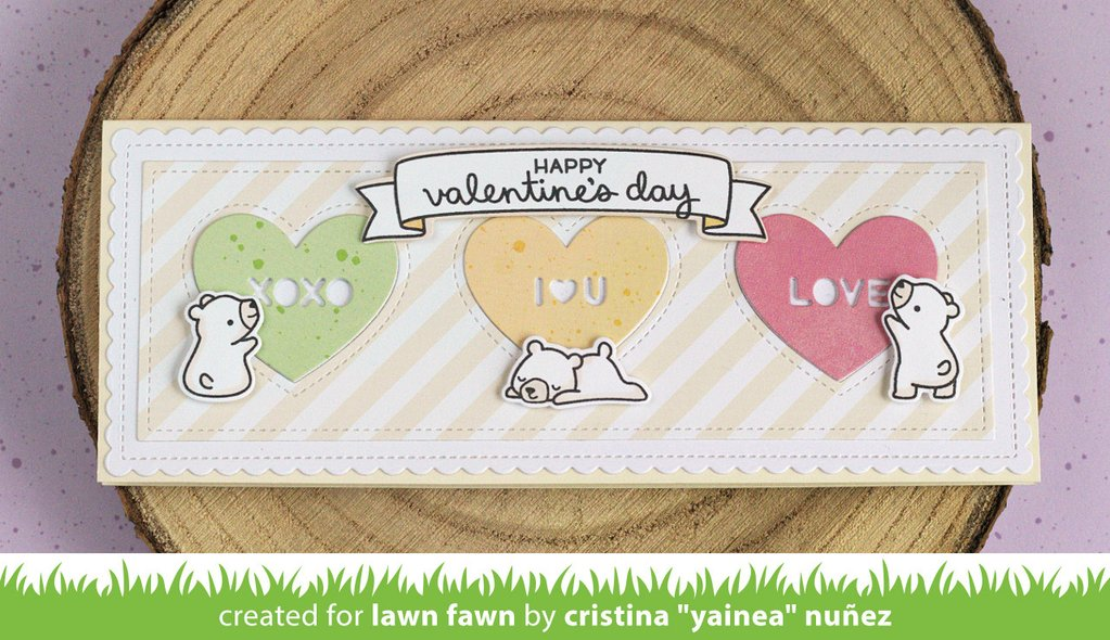 Scalloped Slimline Dies with Hearts - Landscape - Lawn Fawn