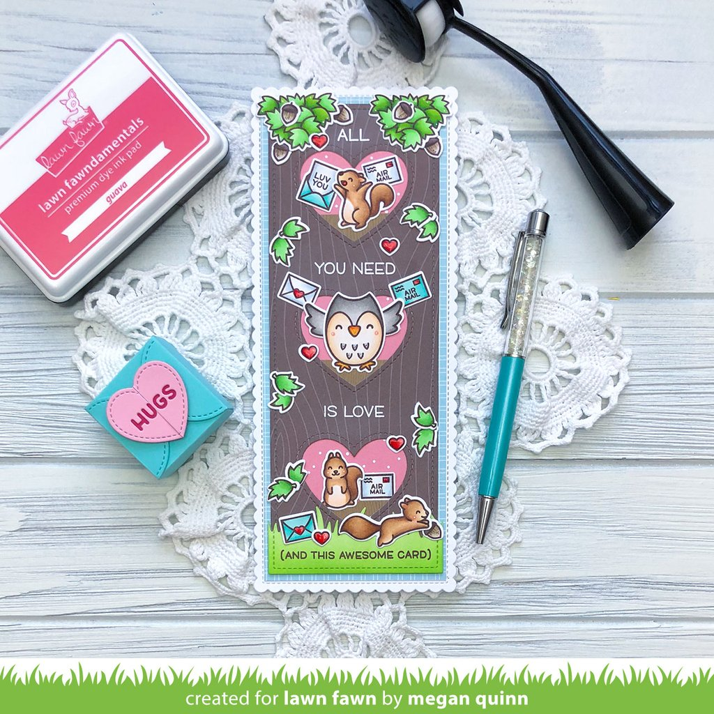 Scalloped Slimline Dies with Hearts - Portrait - Lawn Fawn