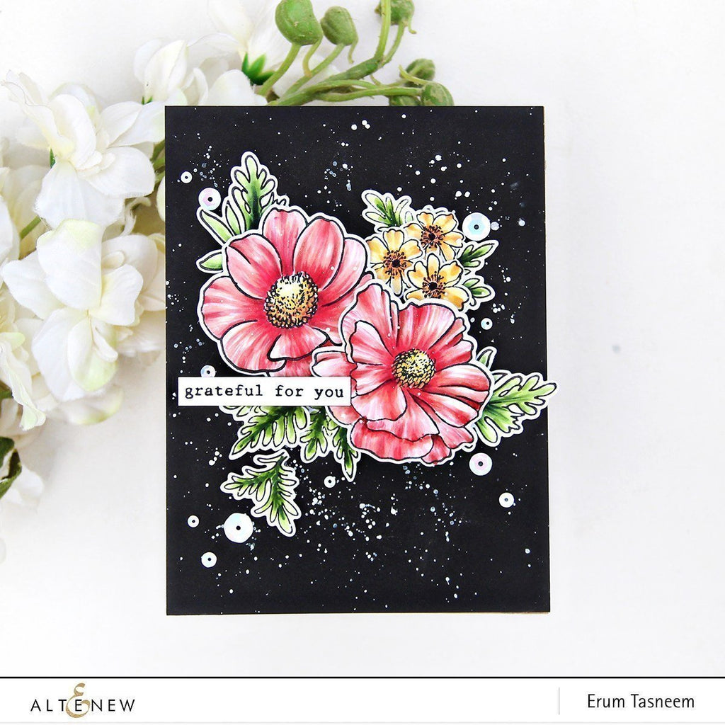 Build a Flower: Anemone Coronaria stamp, die and ink bundle