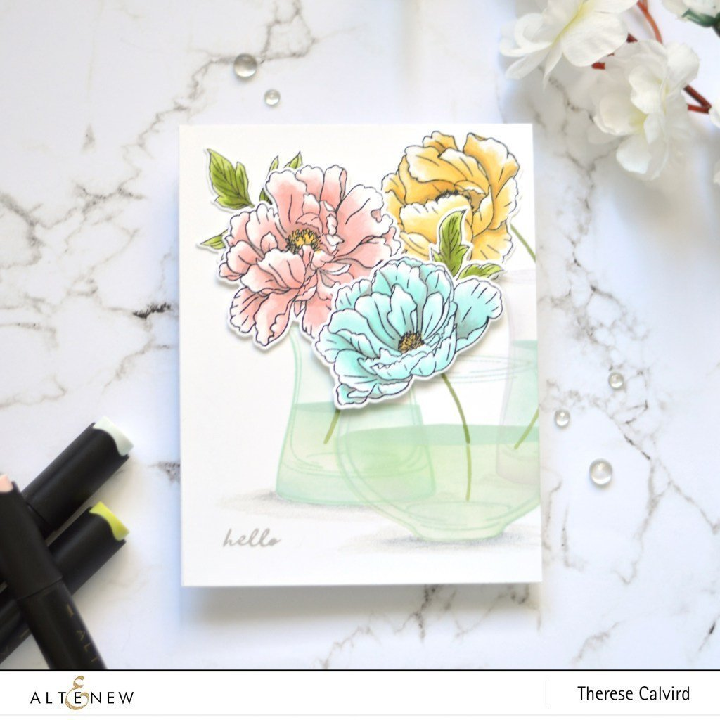 Beautiful Peony Stamp Set