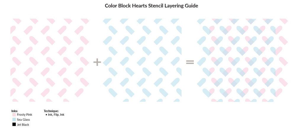 Colour Block Hearts Stencil