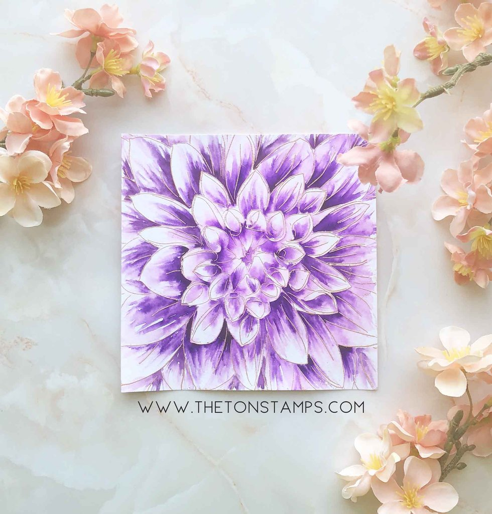 Dahlia Full View Close Up - The Ton Cling Stamps