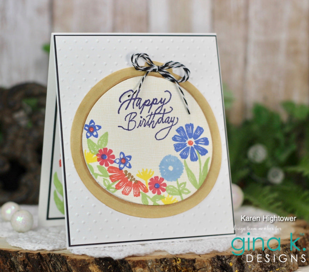 Embroidered Flowers Coordinating Die Set - Gina K