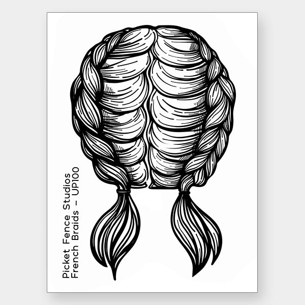 French Braids Clear Stamp