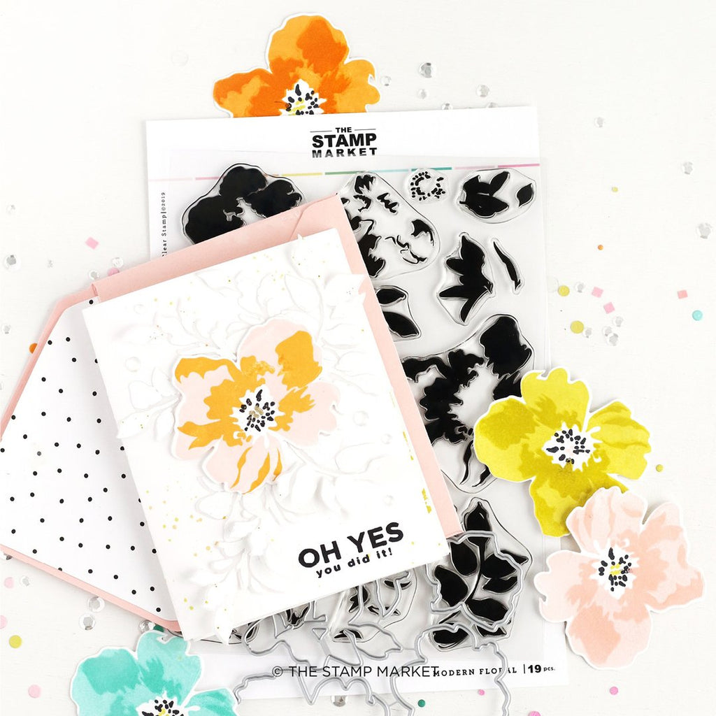 Modern Floral clear stamp set - The Stamp Market