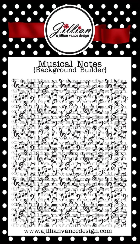 Musical Notes Background Builder Clear Stamp - A Jillian Vance Design