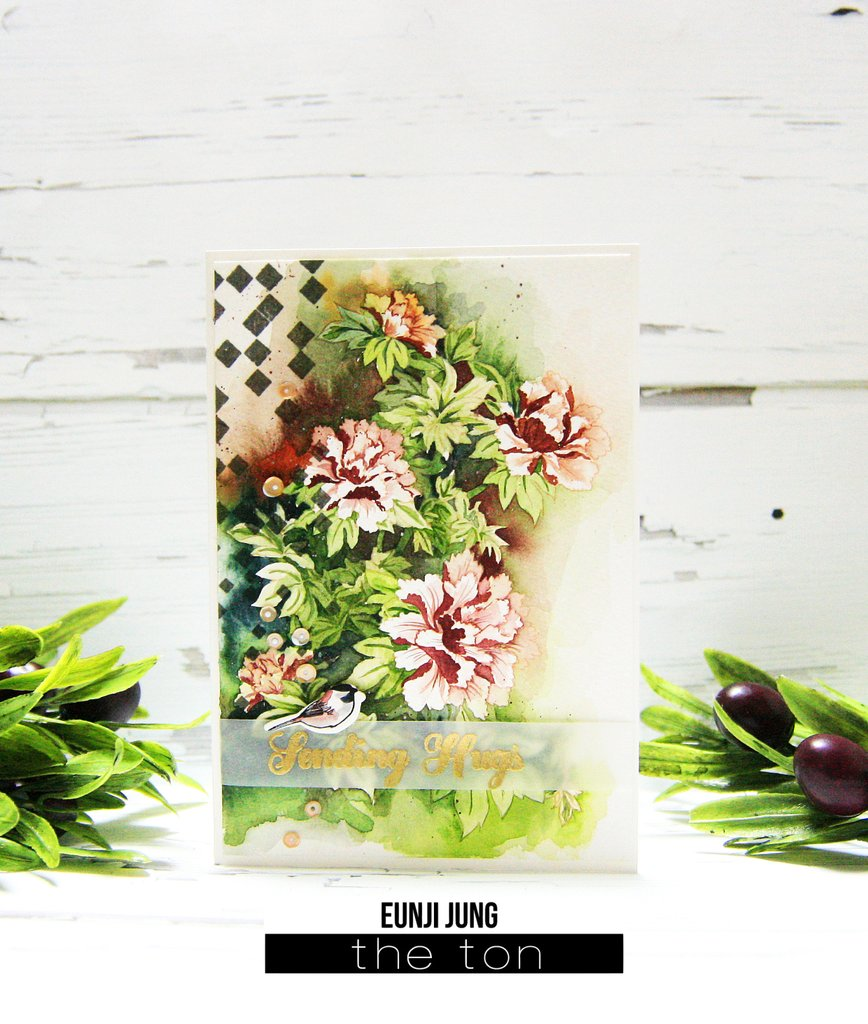 Nesting Peonies - The Ton Stamps
