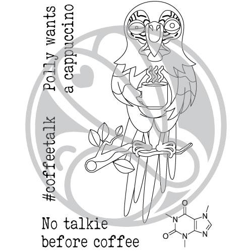 Caffeinated Parrot Clear Stamps- The Rabbit Hole Designs