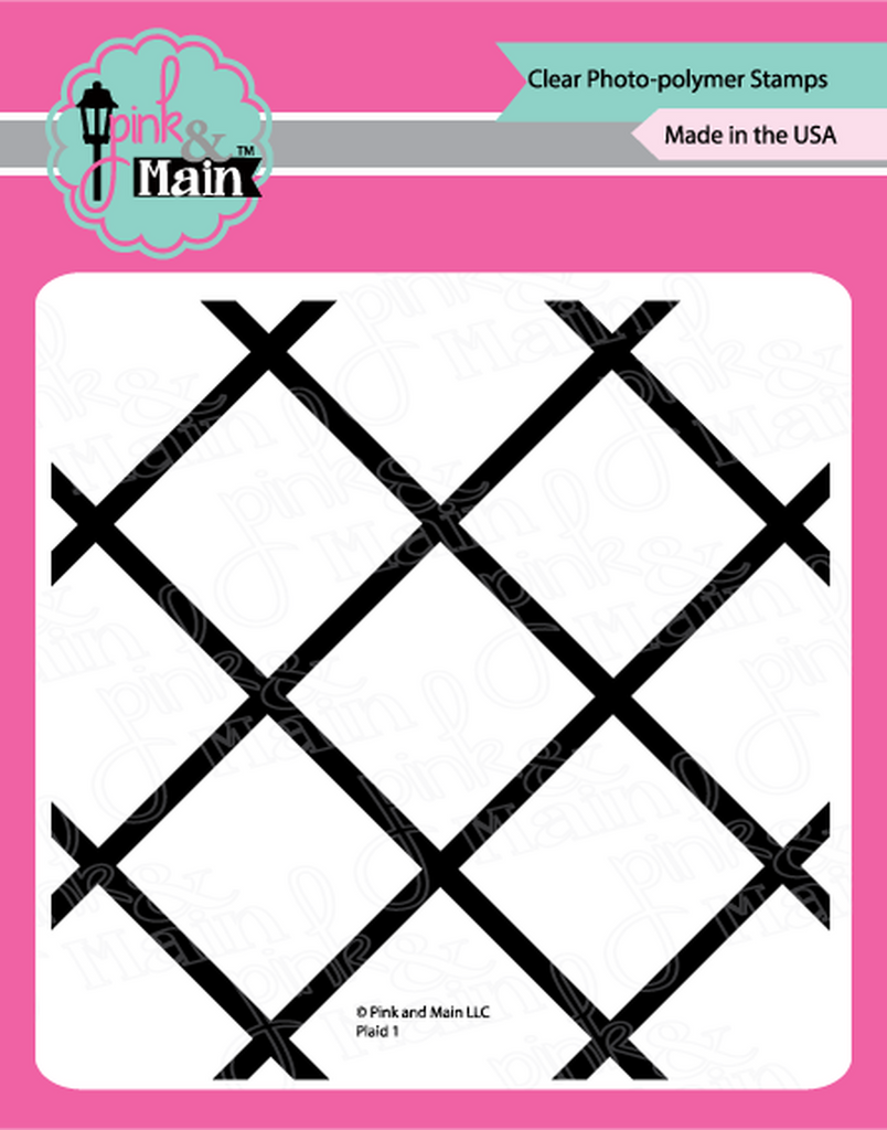 "Plaid 1 - 6x6"" clear stamp - Pink and Main"