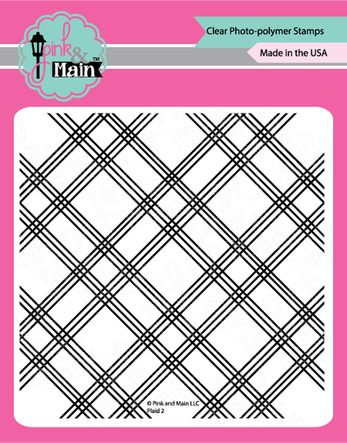 "Plaid 2 - 6x6"" clear stamp - Pink and Main"