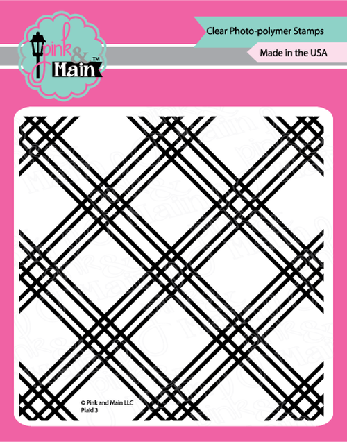 "Plaid 3 - 6x6"" clear stamp - Pink and Main"