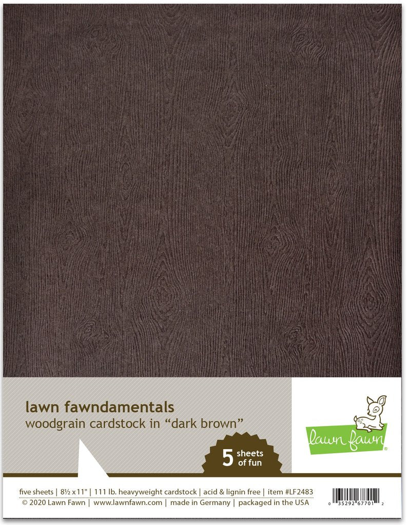 Woodgrain Cardstock Dark Brown - Lawn Fawn