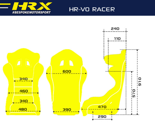 Racer racing seat - Standard size dimensions - HRX