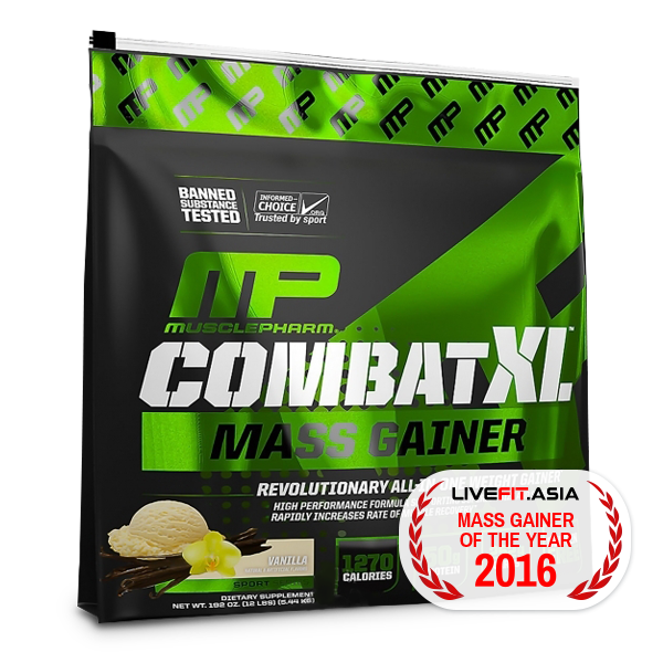 MusclePharm Combat XL Mass Gainer 12Lbs - LiveFit.Asia