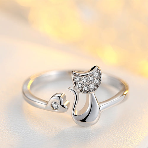 Lovely Cat Shape Clear Crystal Ring