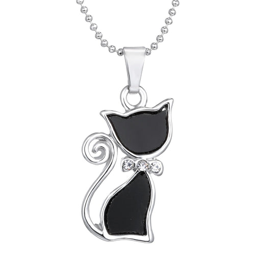 Silver Plated Crystal Cute Cat Necklaces
