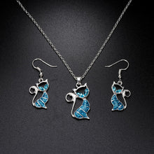 Load image into Gallery viewer, Beautiful Blue Opal Necklace And Earrings