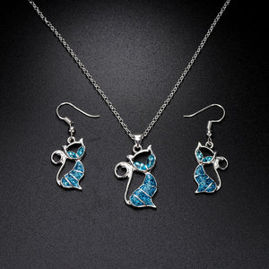 Beautiful Blue Opal Necklace And Earrings