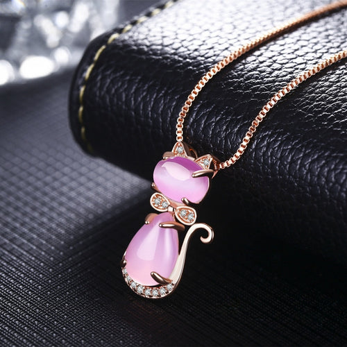 Lovely Crystal Opal Cat Necklace