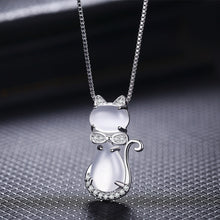 Load image into Gallery viewer, Lovely Crystal Opal Cat Necklace