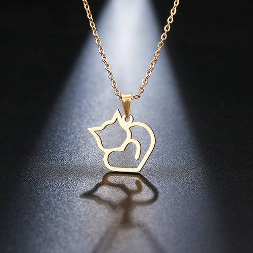 Stainless Steel Cat Necklace