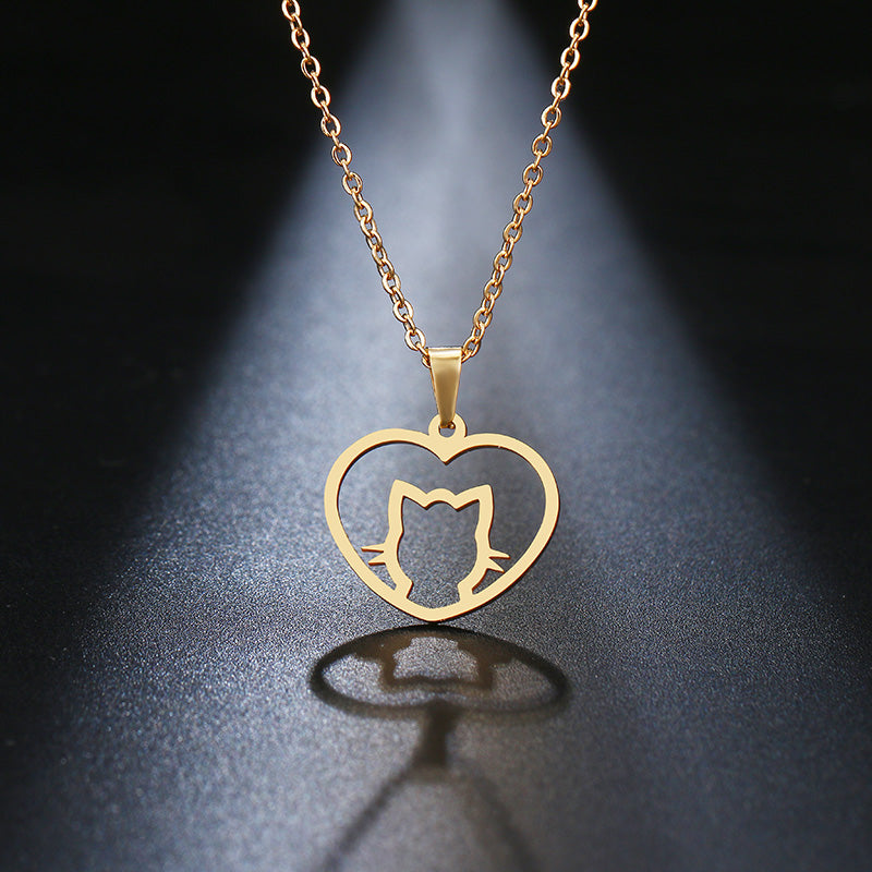 Stainless Steel Cute Cat Necklace