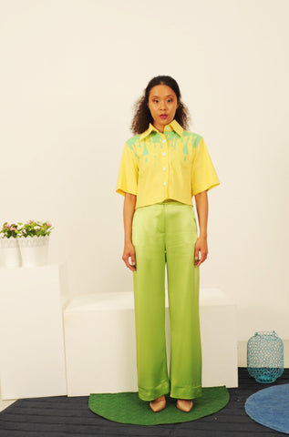 Lime straight trouser