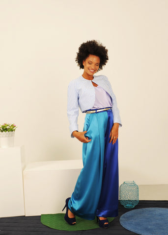 Two Tone Blue Baggy Trousers