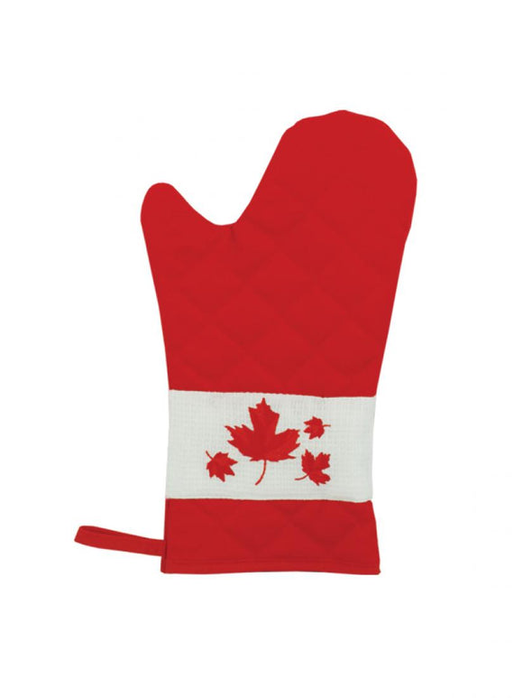 Red canadian flag oven mitt