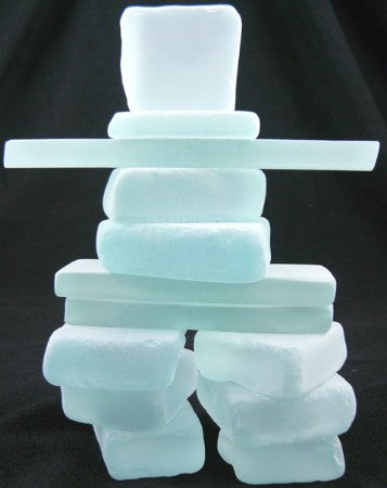 inukshuk made from frosted green glass