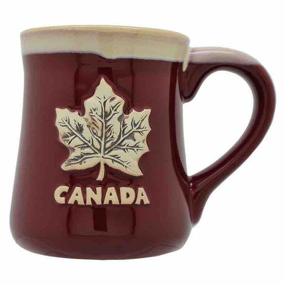 red canadian maple leaf coffee mug