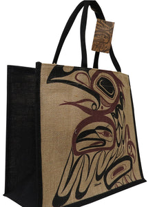 haida raven jute tote shopping bag