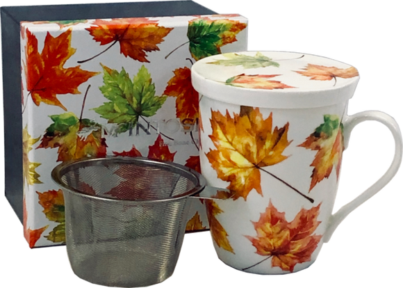 maple leaves fine bone china tea mug with infuser