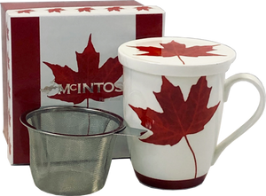 canadian maple leaf fine bone china tea mug with infuser