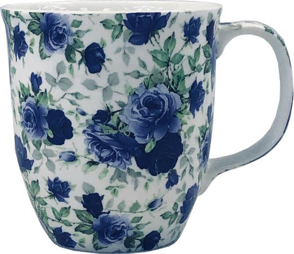 dark blue roses fine bone china coffee mug