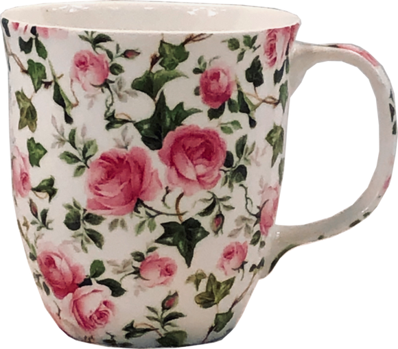 Pink roses fine bone china coffee mug