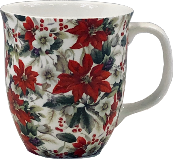 Pointsettia fine bone china coffee mug