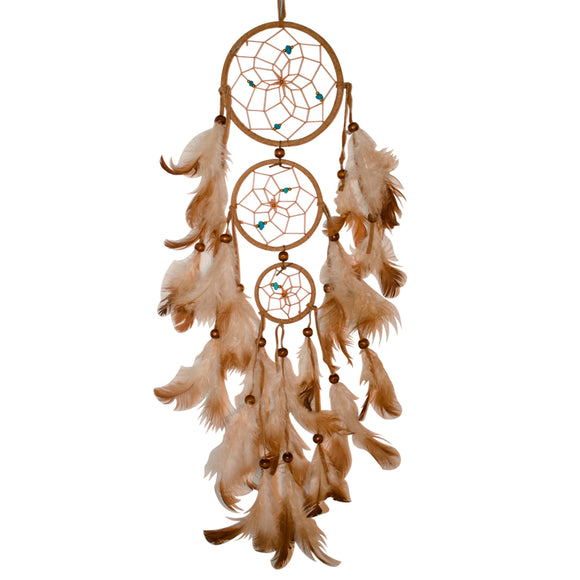 3 ring dream catcher with feathers