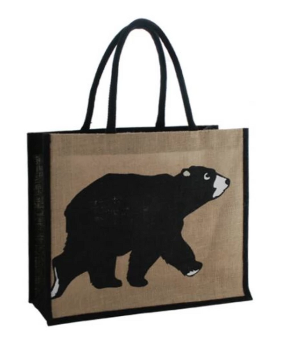black bear jute tote shopping bag