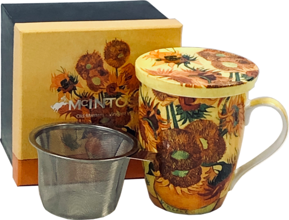 van gogh sunflowers fine bone china tea mug with infuser