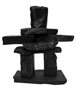 black recycled glass inukshuk statue
