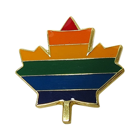 Rainbow Maple Leaf Lapel Pin