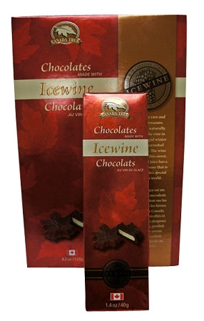 Milk chocolate icewine filled chocolate maple leaves