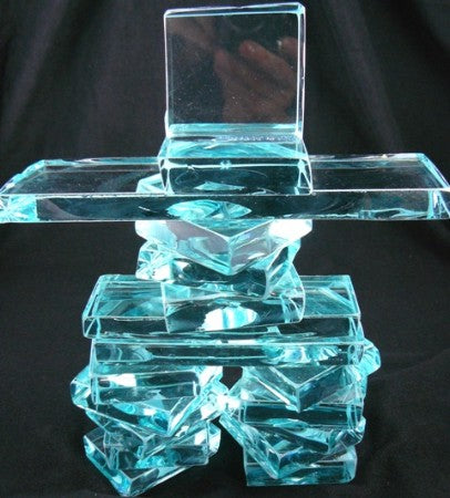 inukshuk made from clear green glass