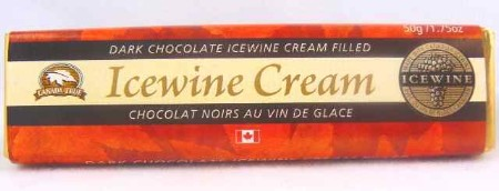 Dark chocolate icewine cream-filled chocolate bar