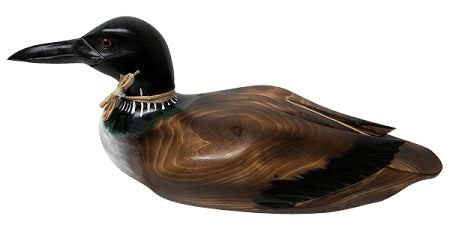 burnt wood loon carving