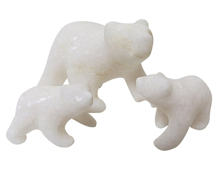 marble polar bear with cubs sculpture