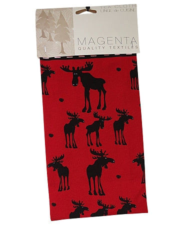 Red moose tea towel