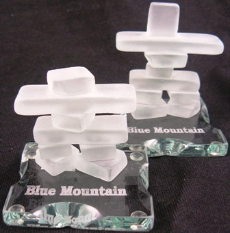inukshuk made from frosted glass with base